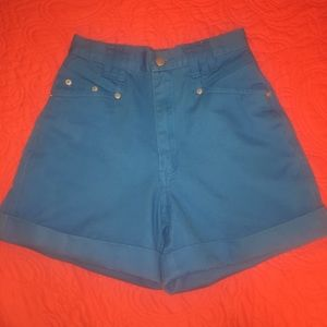 Vintage Bright Blue High Waisted Shorts